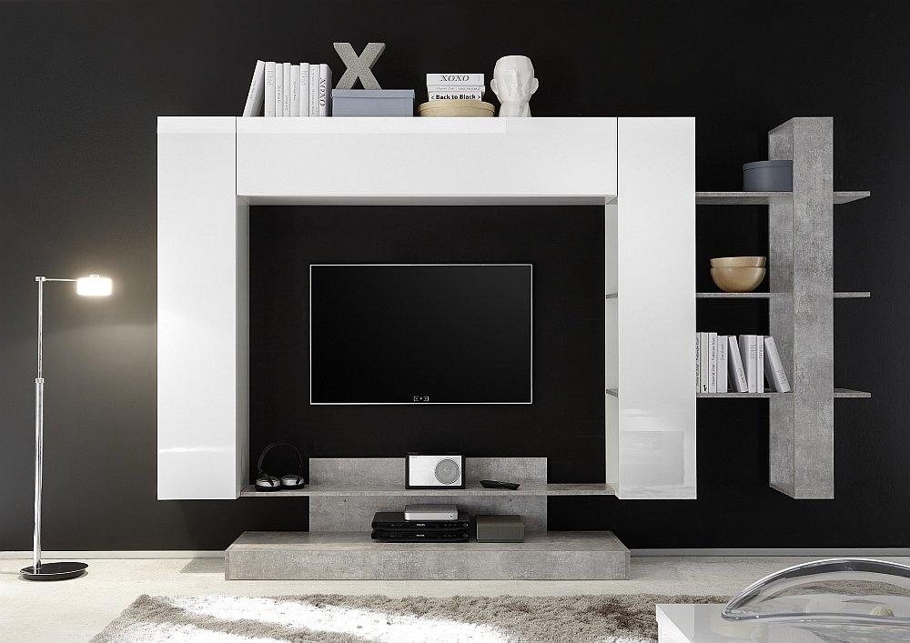 Soggiorno componibile bianco lucido e beton