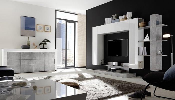Soggiorno componibile con madia bianco lucido e beton