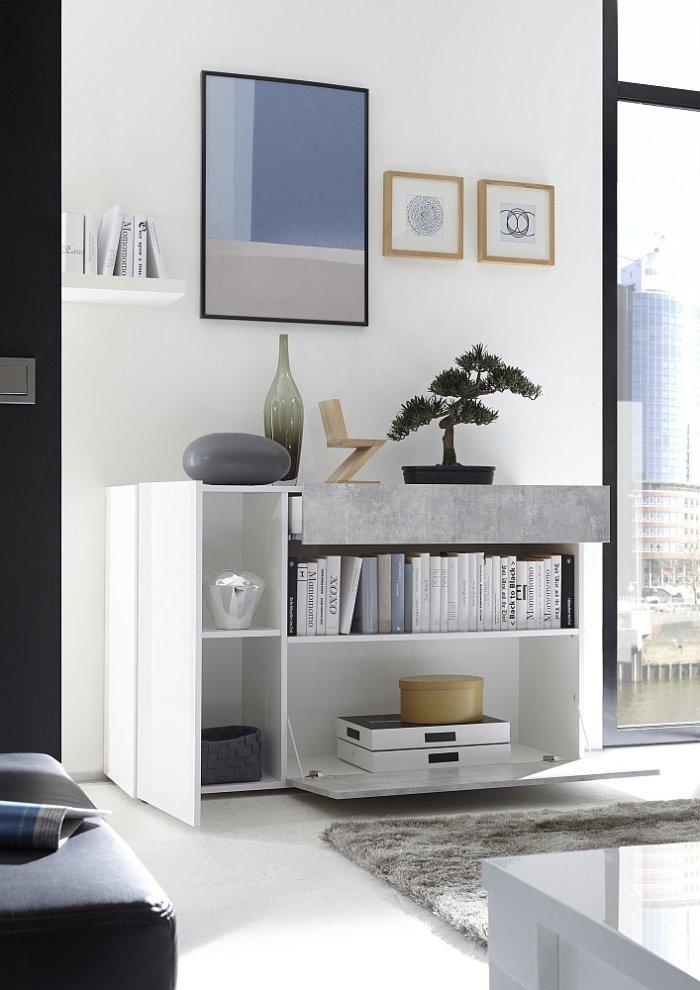 Madia bianco lucido e beton