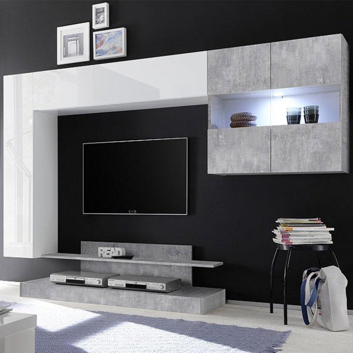 Soggiorno componibile bianco e beton