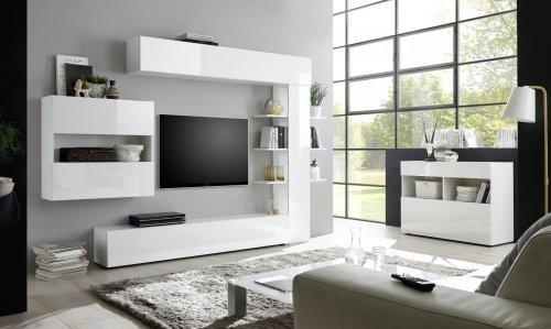 parete attrezzata componibile con madia bianco lucido